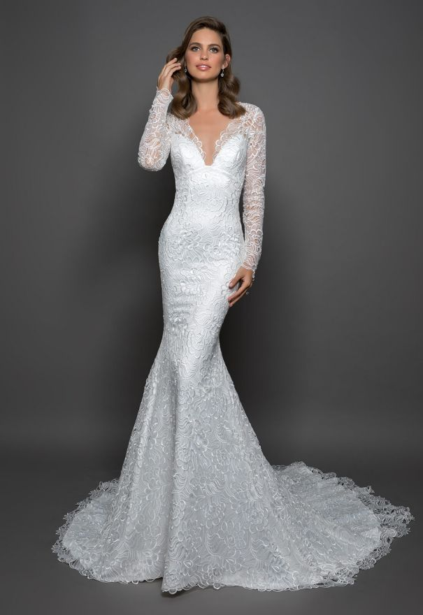 Boho Wedding Dresses Lace Sheath Fitted Long Sleeve Wedding Dress