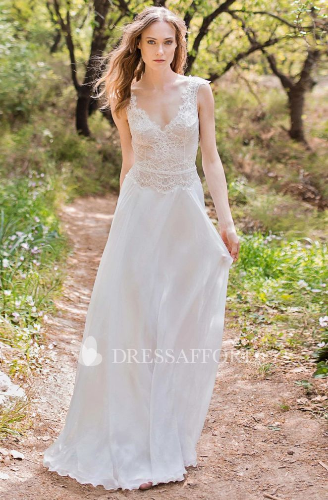 Boho Wedding Dresses Plunged Cap Sleeve Chiffon Sheath Wedding Dress