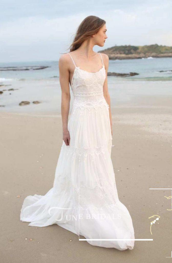 Boho Wedding Dresses Spaghetti Sleeveless Chiffon Beach Boho Wedding Dress