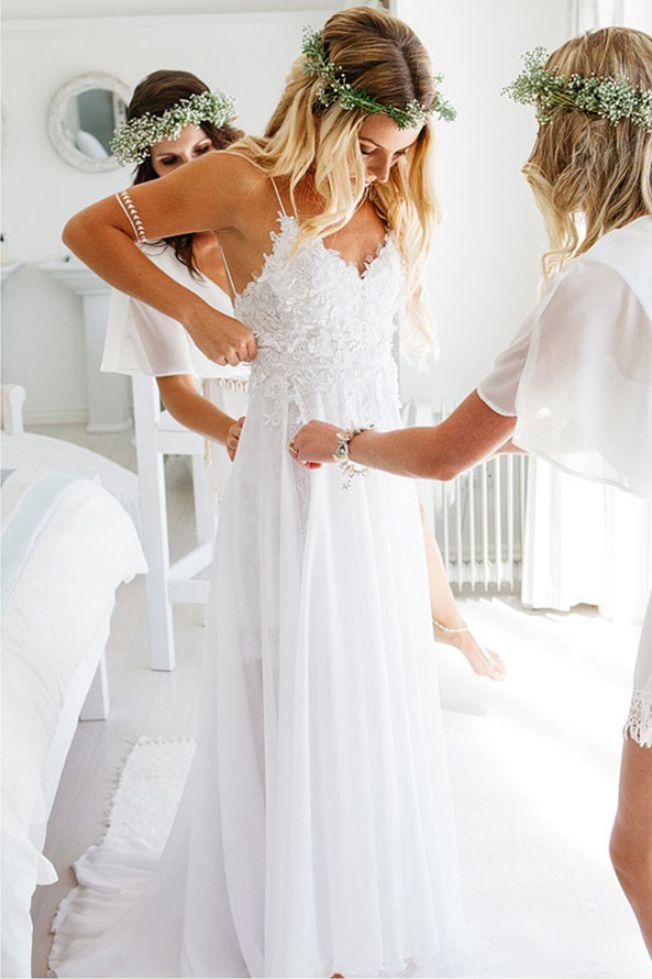 Boho Wedding Dresses Sweetheart A line Chiffon Wedding Dress