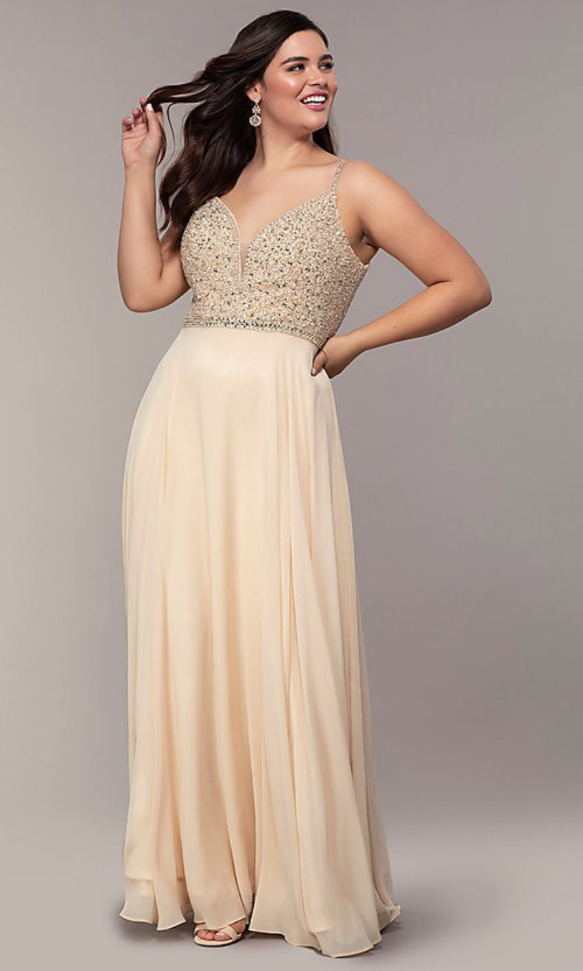 Brown Beaded V Neck Gown Plus Size