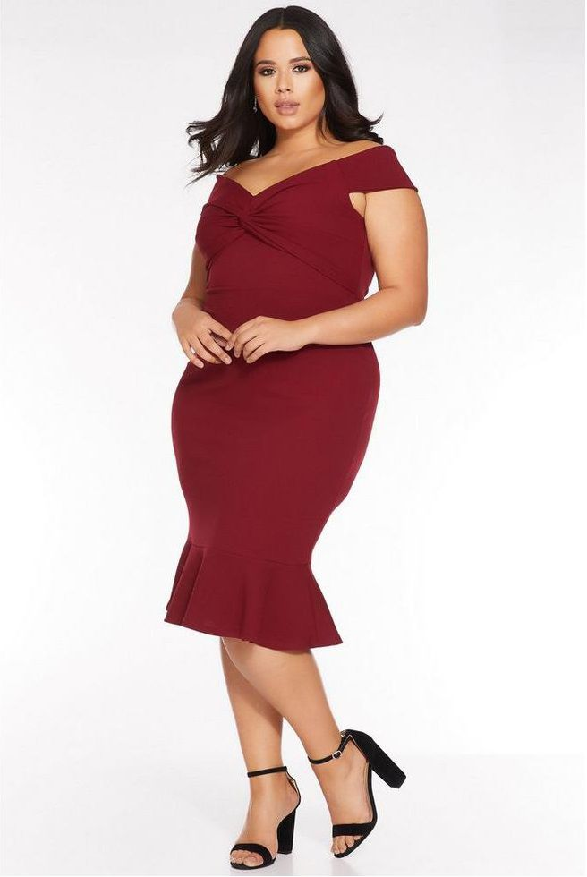 Burgundy Plus Size Evening Berry Lace Bardot Fishtail Midi Dress