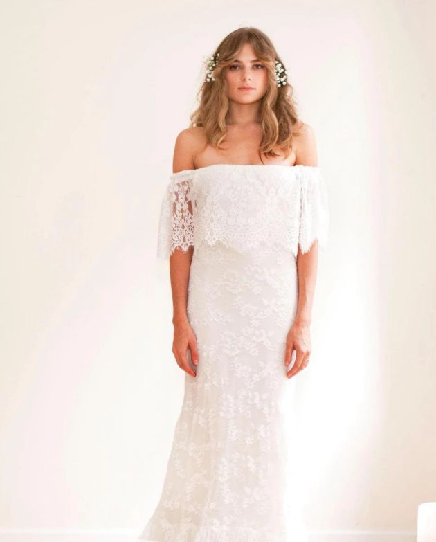 Cheap Boho Wedding Dresses Boho Off Shoulder Sheath Scalloped Wedding Dress