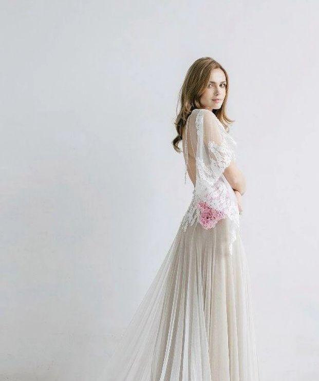 Cheap Boho Wedding Dresses Ethereal Sheath Bat Sleeve Wedding Dress