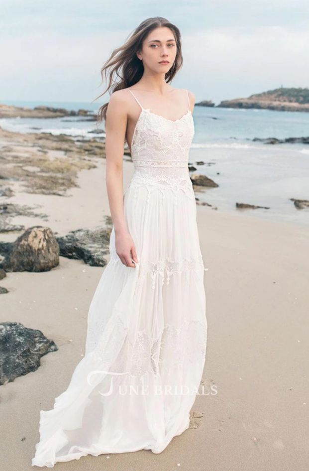 Cheap Boho Wedding Dresses Spaghetti Sleeveless Chiffon Beach Boho Wedding Dress