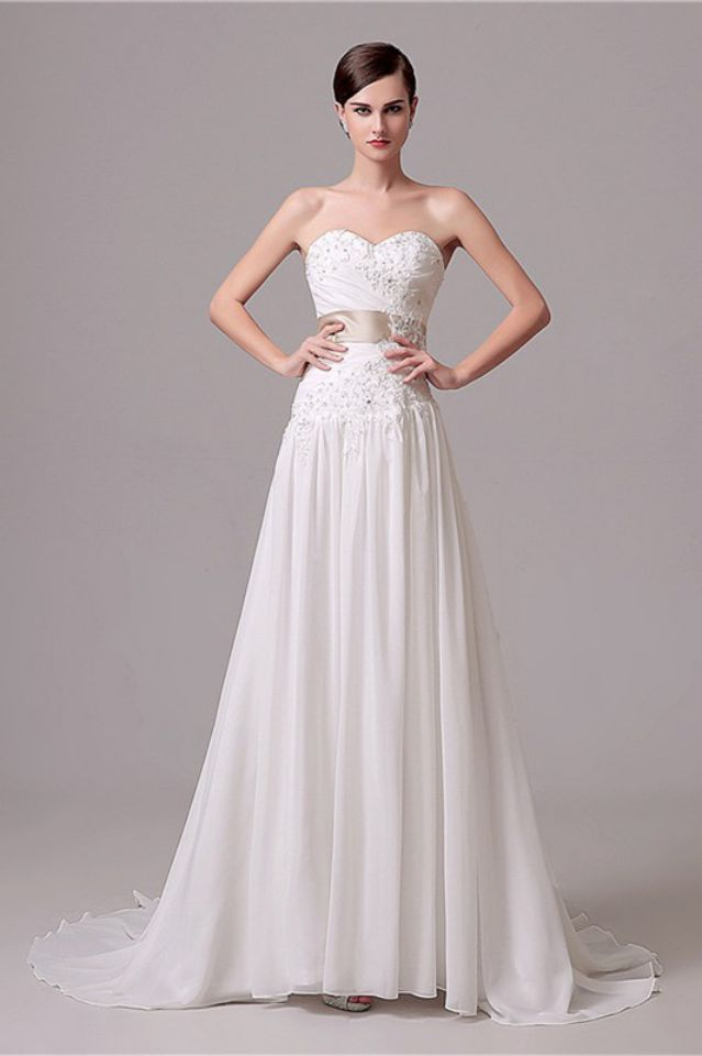 Cheap Boho Wedding Dresses Sweetheart A line Chiffon Wedding Dress