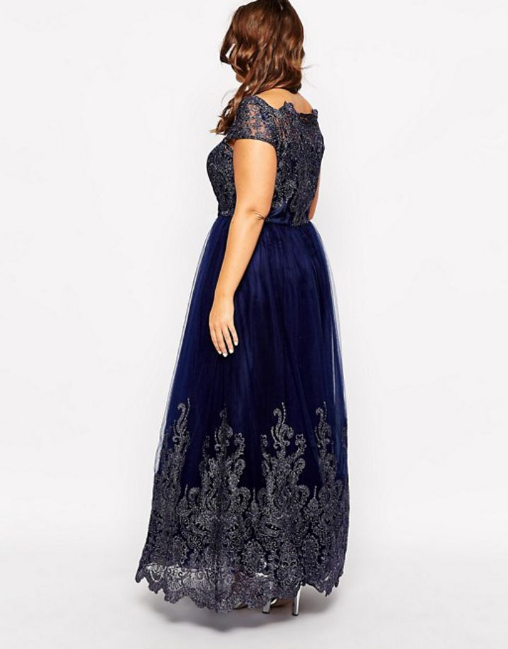 Chi Chi London Plus Metallic Lace Cap Sleeve Maxi Dress Plus Size Formal Dresses From Back