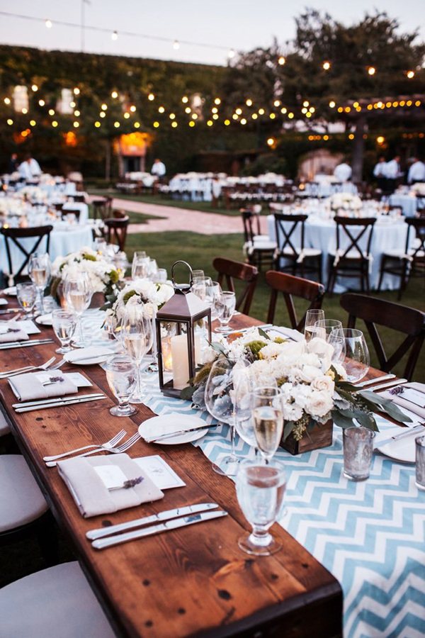 Chick Rustic Chevon Wedding Table Ideas