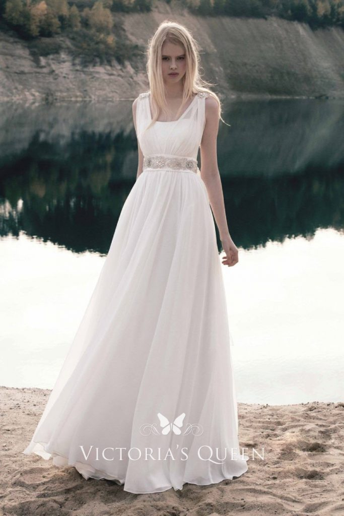 Chiffon Sleeveless Summer Wedding Dresses