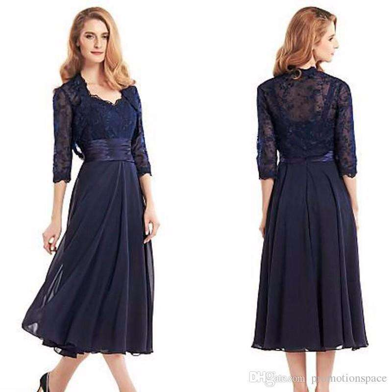 Chifon Mother of the Bride Dresses Tea Length