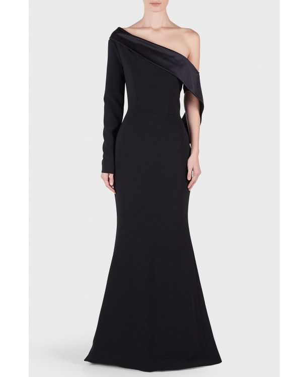 Christian Siriano Textured Crepe Off the Shoulder Draped Gown Other Side