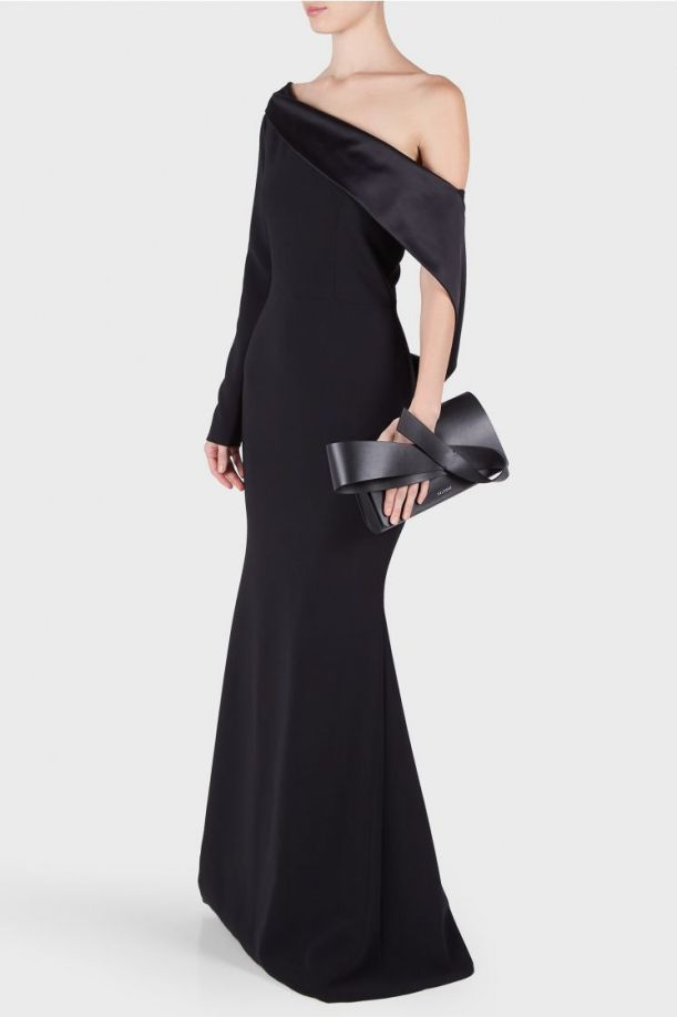 Christian Siriano Textured Crepe Off the Shoulder Draped Gown