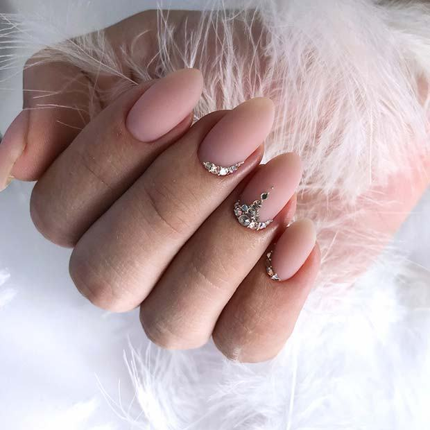 Cute Wedding Nail Ideas Simple Wedding Nails With Rhinestone