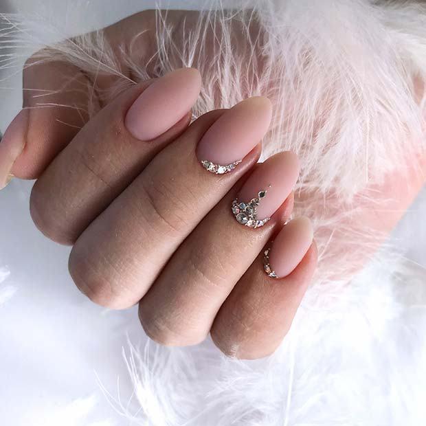 Cute Wedding Nail Ideas Simple Wedding Nails With Rhinestone