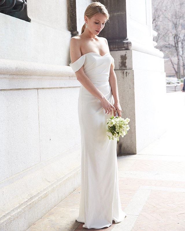 Drape Off Shoulder Wedding Dresses Elegant