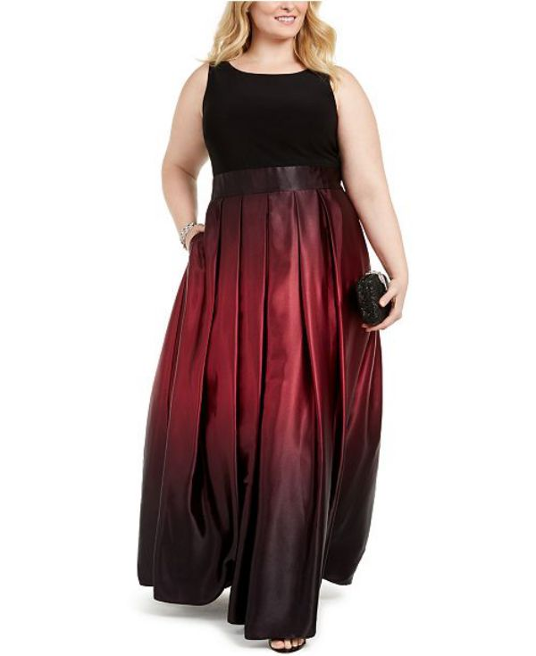 Elegan Plus Size Special Occasion Dresses ¾ Sleeve Bodice Ombre Ball Gown