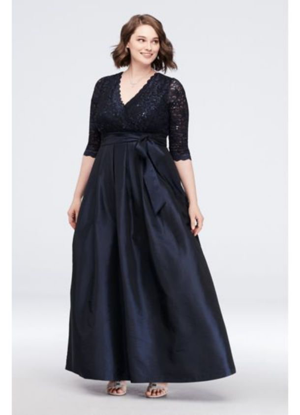 Elegan Plus Size Special Occasion Dresses Lace Surplice Bodice Ball Gown