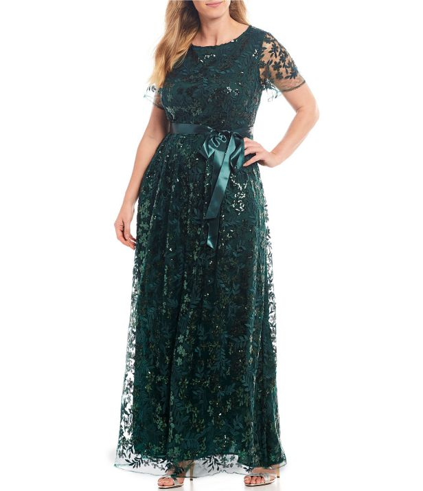 Elegan Plus Size Special Occasion Dresses Short Sleeve Sequin Illusion Gown