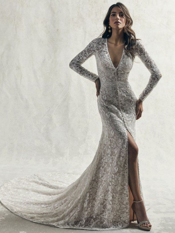 Elegant Allover Lace Long Sleeve Sheath Wedding Dress