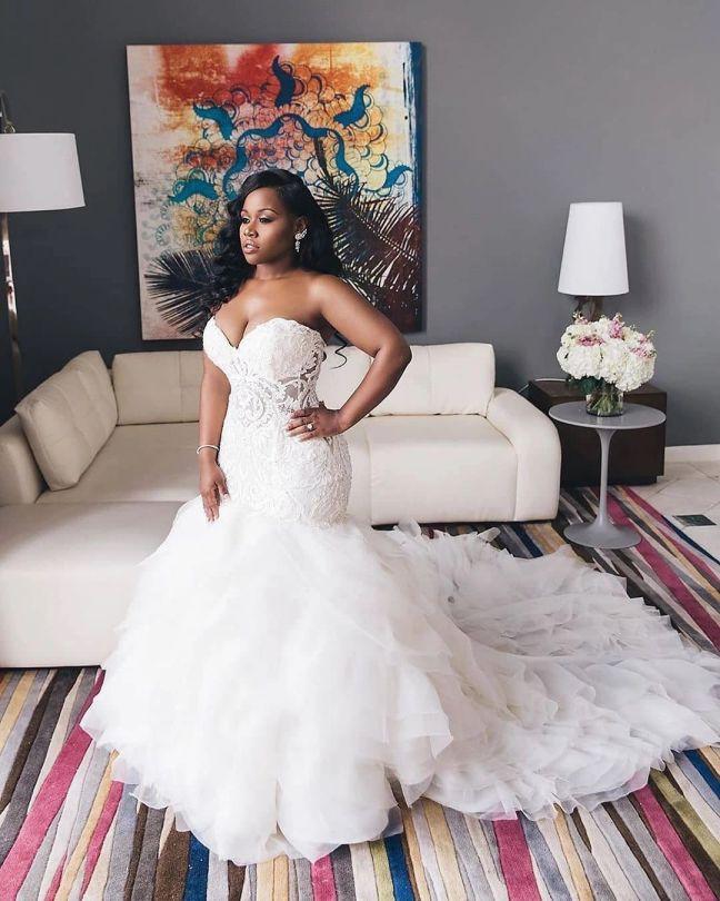 Elegant Beaded Mermaid Wedding Dress Plus Size
