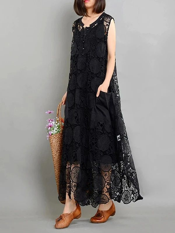 Elegant Black Asymmetrical Dress Long Summer Dress