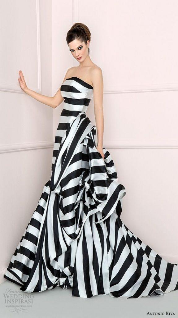 Elegant Black and White Striped Wedding Dress