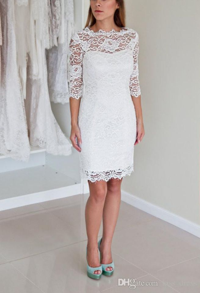 Elegant Jewel Neck Long Sleeve Short Lace Wedding Dress