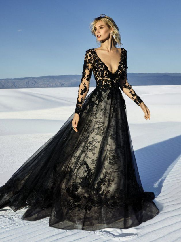 Elegant Lace Black Wedding Dress