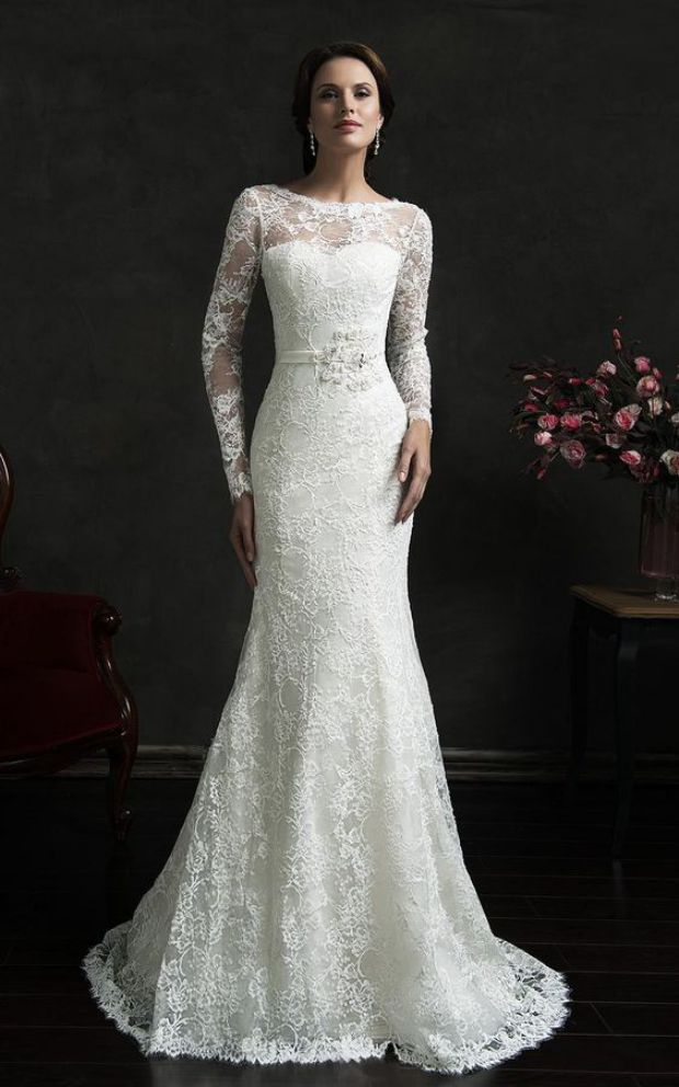 Elegant Long Sleeve Mermaid Wedding Dress Modest