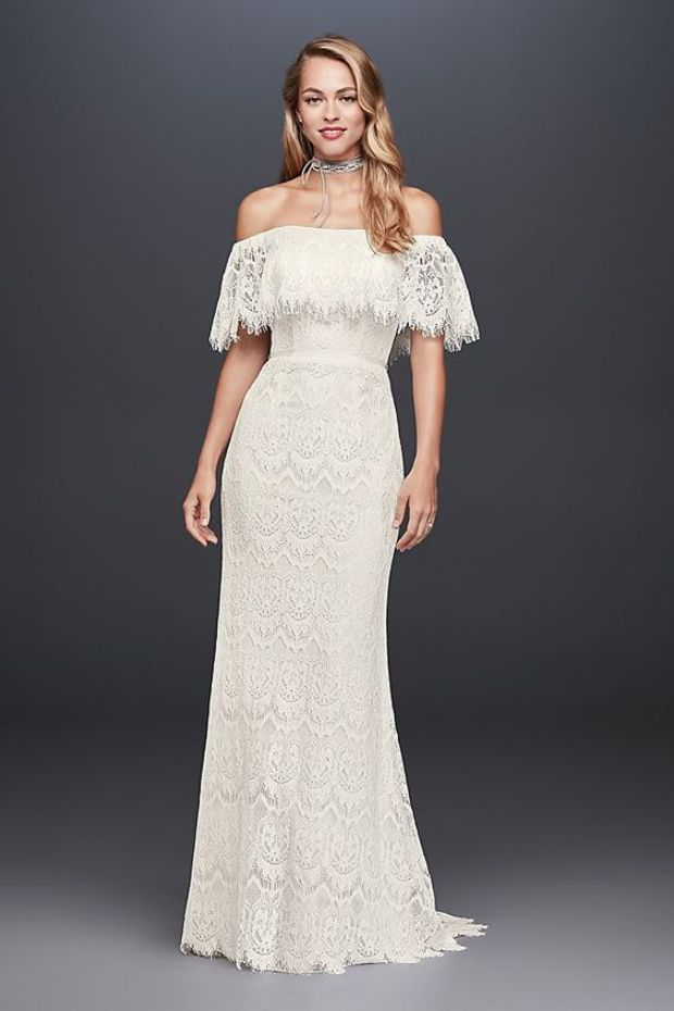 Elegant Off the Shoulder Eyelash Lace Sheath Dress Modern