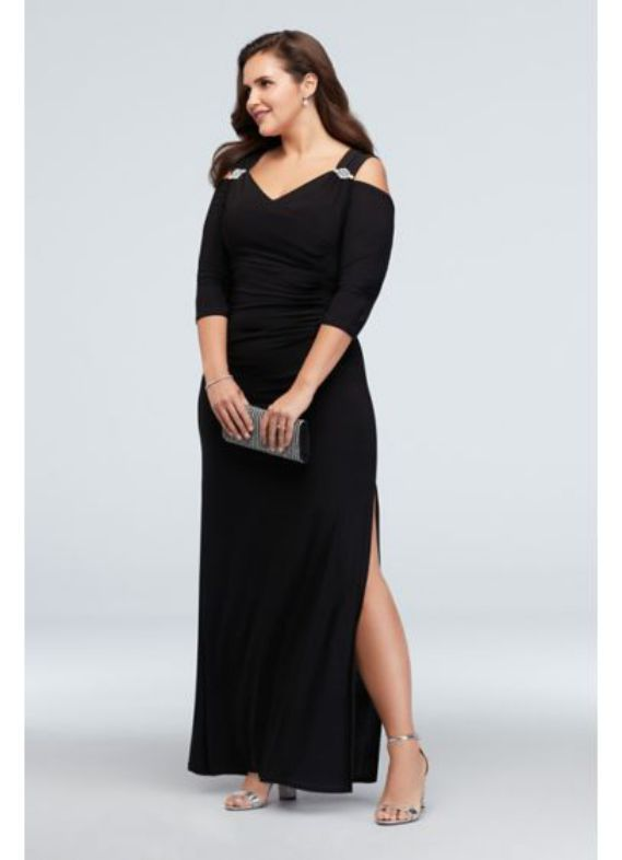 Elegant Plus Size Beaded Cold Shoulder Dres for formal dresses
