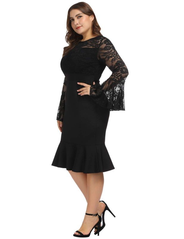 Elegant Plus Size Cocktail Dresses Black With Sleeves