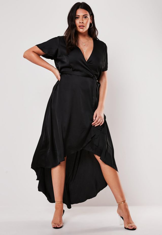 Elegant Plus Size Evening Dress Black Satin Wrap Dip