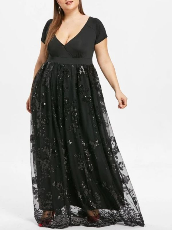 Elegant Plus Size Evening Dress Black Sequin V Neck Maxi Dress