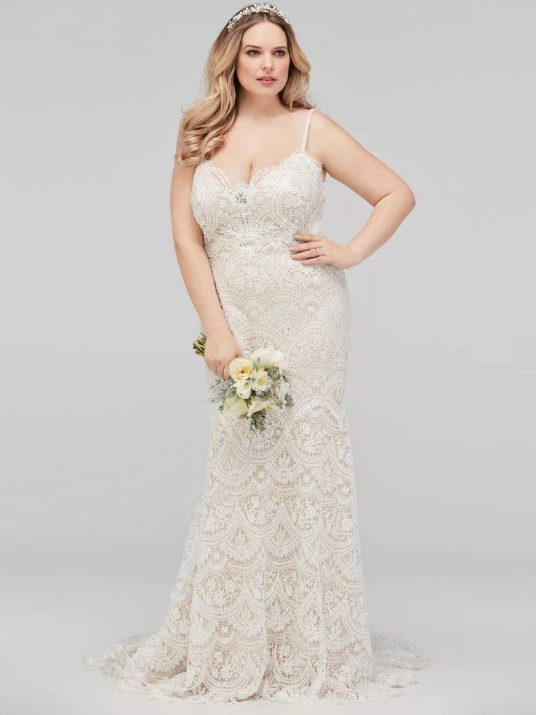 Elegant Plus Size Spaghetti Strap Crepe Back Satin Bridesmaid Dress