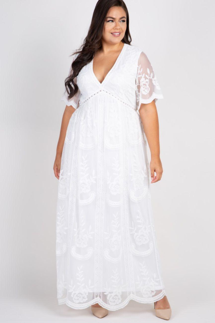 Elegant Plus Size White Dress