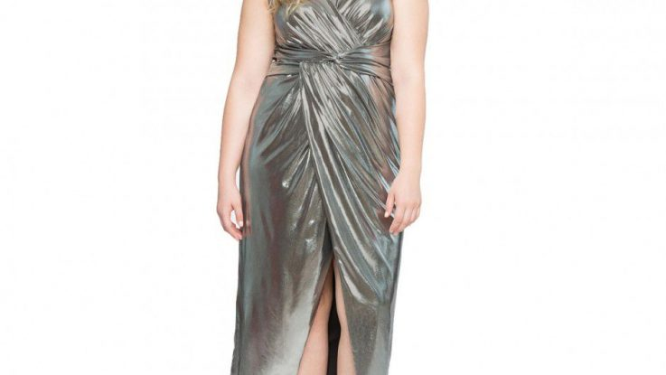 Elegant Twisted Metallic Gown Plus Size