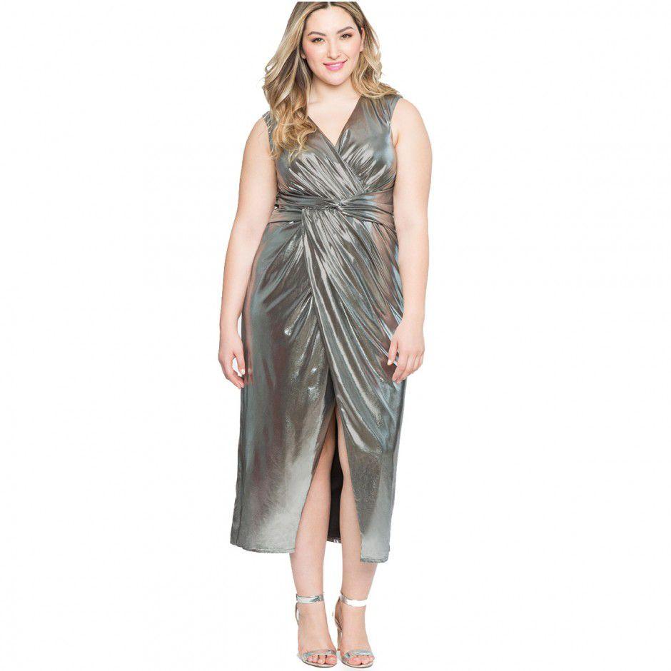 Elegant Twisted Metallic Gown Plus Size