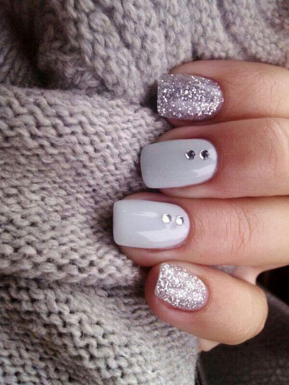 Elegant Wedding Nail Ideas White Nails With Silver Strip Glitter
