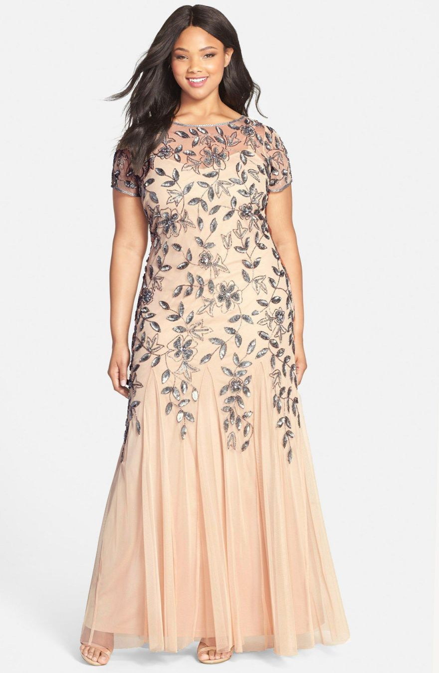 Floral Beaded Godet Gown Plus Size
