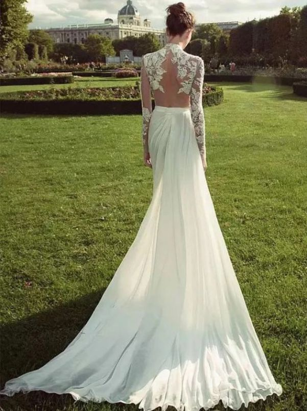 Gorgeous High Neck Long Sleeve Lace Wedding Dress Back Side