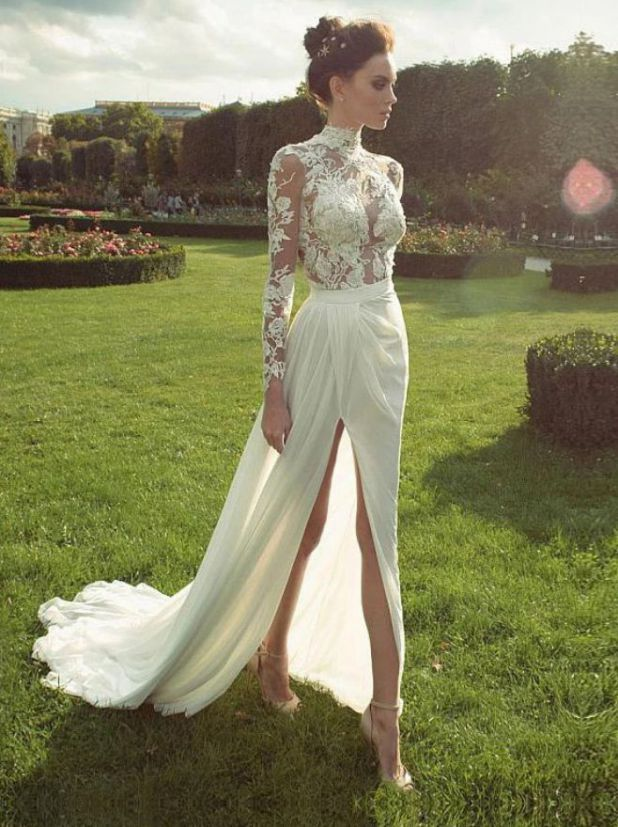 Gorgeous High Neck Long Sleeve Lace Wedding Dress