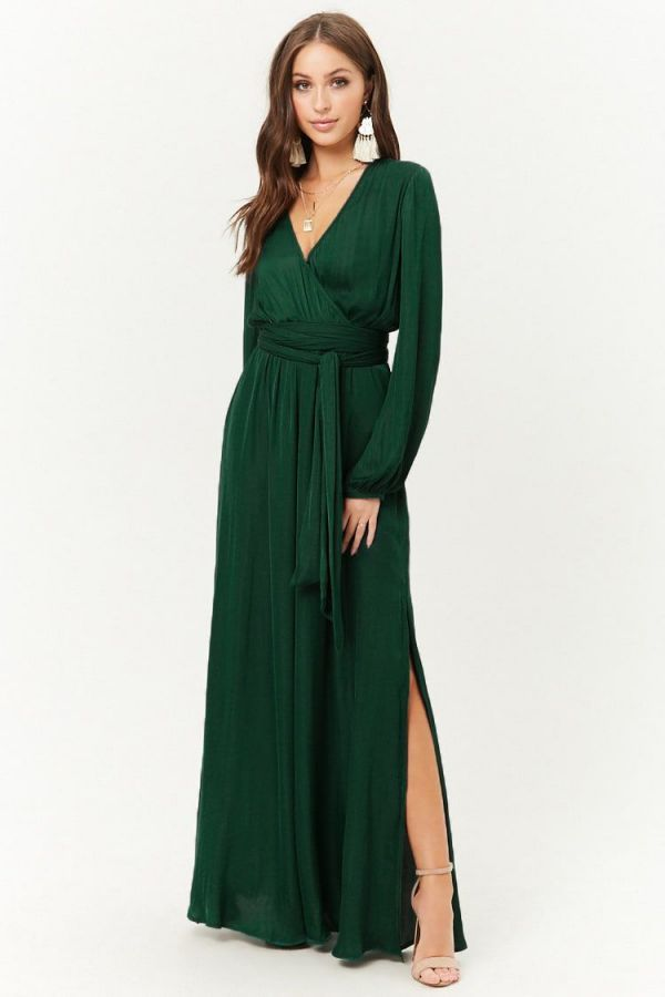 Green Long Summer Dress Belted Satin Maxi Dress