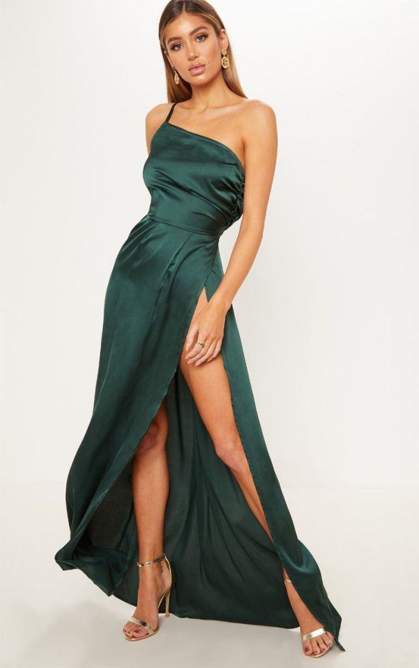 Green Strapless Satin Maxi Dress Long Summer Dress