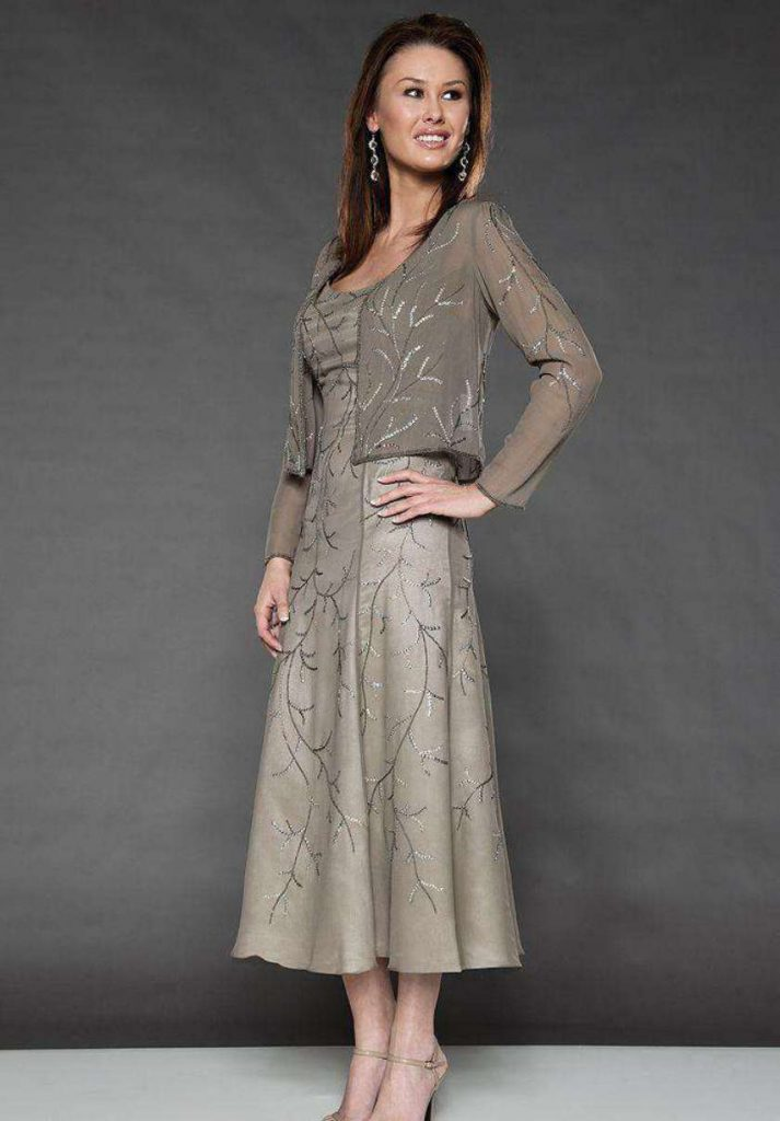 Grey Mother of the Bride Dresses Tea Length