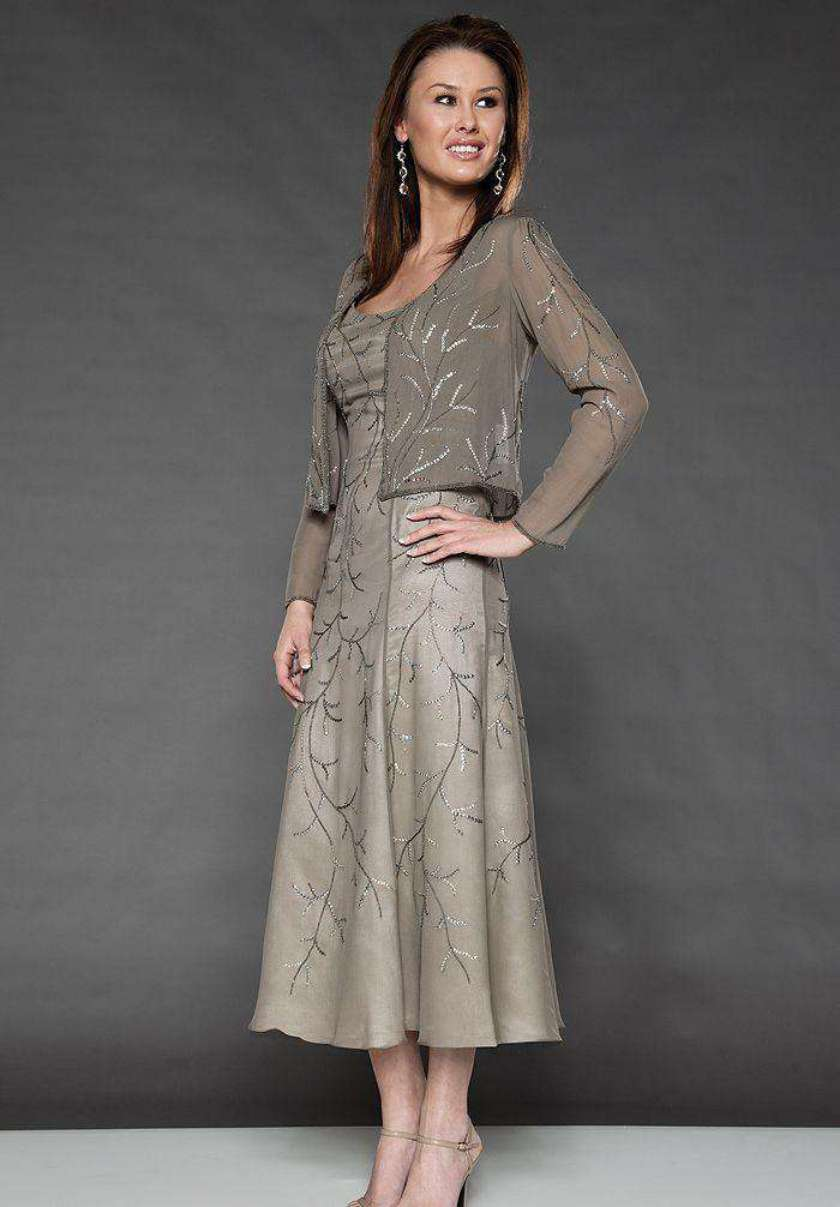 Grey Mother of the Bride Dresses Tea Length