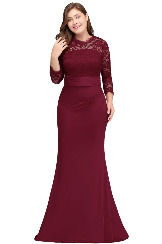 Halley Bridesmaid Dress in Burgundy Plus Size Bridesmaid Dresses