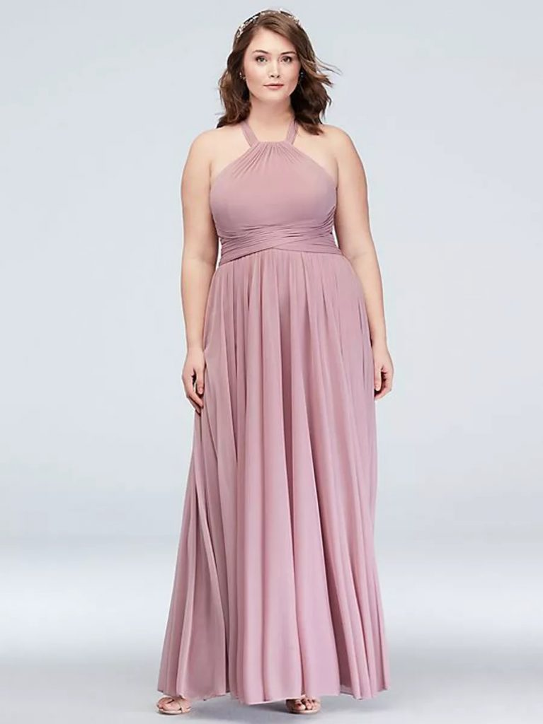 High Neck Mesh Bridesmaid Dress Plus Size Bridesmaid Dresses