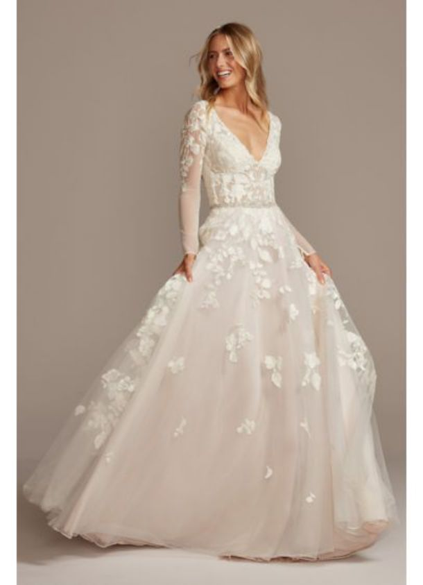 Illusion Sleeve Plunging Wedding Ball Gown