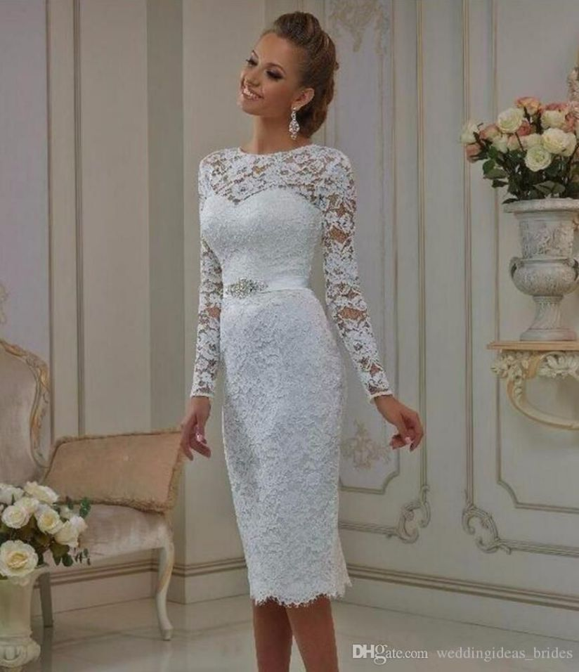 Jewel Neck Long Sleeve Short Lace Wedding Dress